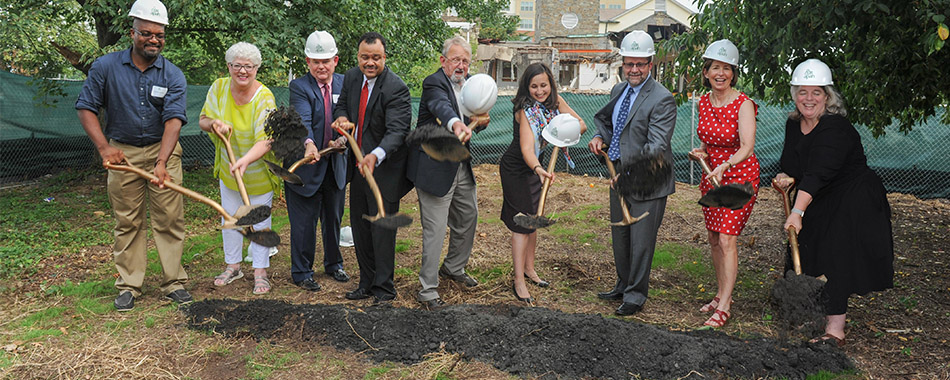 Partners of the Gilliam Place project take place in the ceremonial groundbreaking.